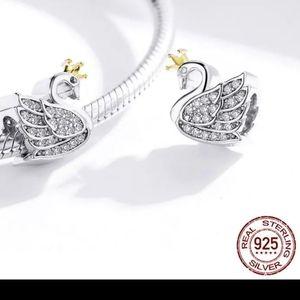 NWT 925 Sterling silver swan charm
